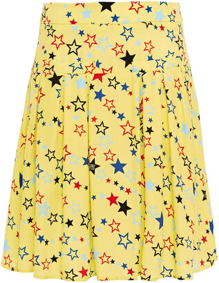 Love Moschino Pleated Printed Crepe Mini Skirt