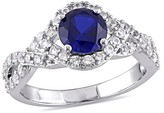 Allura 1.25 Count. T.W. Created Blue Sapphire and .84 Count. T.W. Created White Crossover Ring in Sterling Silver