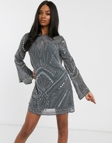 Asos Design DESIGN shift mini dress with cowl back and armour embellishment