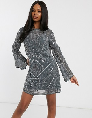 Asos Design DESIGN shift mini dress with cowl back and armour embellishment-Grey