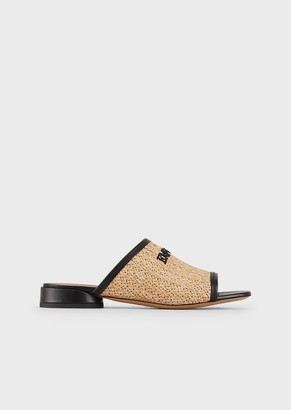 Emporio Armani Woven-Straw Sandals With Embroidered Logo