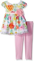 Youngland Little Girls Floral Printed Lace Legging Set