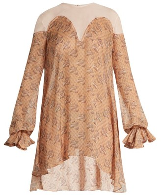 Katie Eary Snake-print Silk-chiffon Dress - Beige Multi