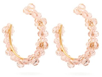 Simone Rocha Large Crystal-daisy Hoop Earrings - Womens - Pink
