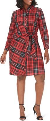 Foxcroft The Parisian Tartan Cotton Blend Long Sleeve Dress