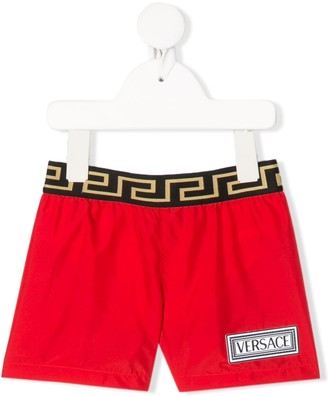 Versace Logo Patch Swim Shorts