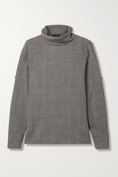 Thumbnail for your product : Akris Prince Of Wales Checked Wool Turtleneck Top - Brown
