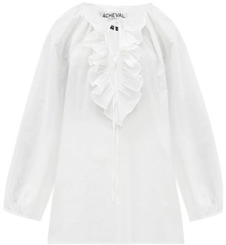 ÀCHEVAL PAMPA Gorrain Ruffled Balloon-sleeve Cotton-voile Blouse - Womens - White