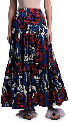 Double J Floral-Print Poplin Tiered Maxi Skirt