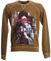 DSQUARED2 Vintage Print Light Brown Cotton Sweater