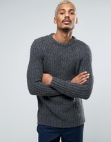 Pull&Bear Chunky Knit Sweater In Gray