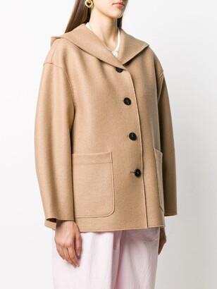 Harris Wharf London Single-Breasted Hooded Coat