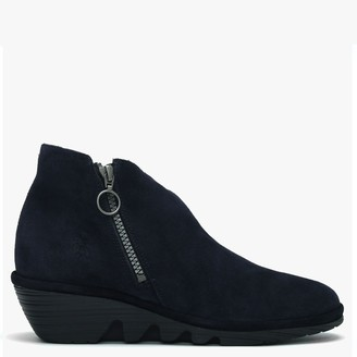 Fly London Poro Navy Suede Cleated Wedge Ankle Boots