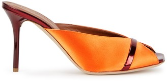 Malone Souliers Lucia 85 orange satin and leather mules