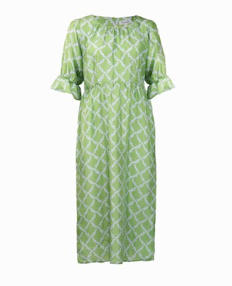 Asneh Natalie Midi Silk Dress In Green With Blue Print