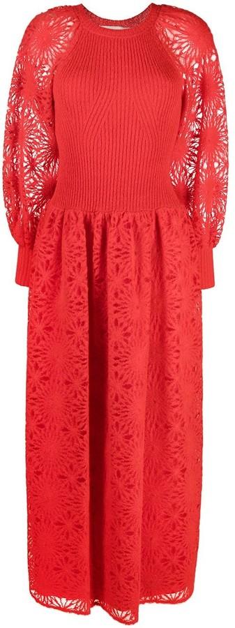 Alberta Ferretti Mixed-Knit Dress