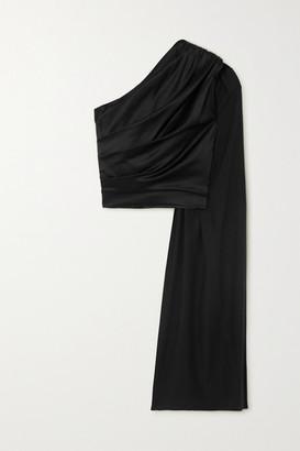MATÉRIEL One-shoulder Draped Silk-blend Satin Top - Black