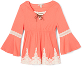 Speechless Coral Crochet-Trim Lace-Up Tunic - Girls