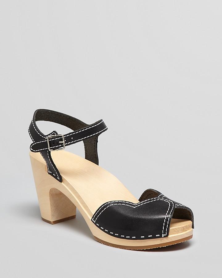 Swedish Hasbeens Platform Clog Sandals - Heart