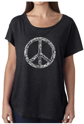 La Pop Art Women Dolman Cut Word Art Shirt - The Word Peace in 77 Languages