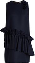 MSGM Ruffled round-neck wool dress