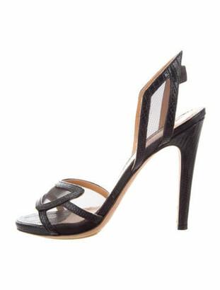 Aperlaï Embossed Leather Slingback Sandals Black
