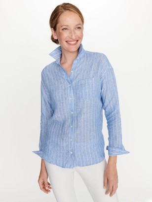 J.Mclaughlin Jaylee Linen Shirt in Chalk Stripe