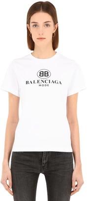 Balenciaga Slim Bb Logo Print Cotton Jersey T-shirt