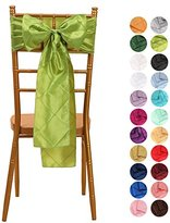 VEEYOO 5 Pieces 6x108 inch Pintuck Taffeta Chair Sashes Ribbon Bows Cover for Wedding Decoration Apple Green