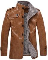 Moollyfox Men's Casual Thicker PU Faux Leather Bomber Moto Jacket 2XL