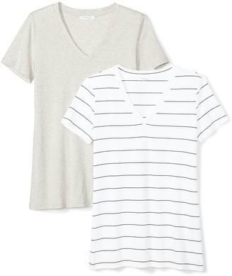 Daily Ritual Women's Lightweight 100% Supima Cotton Short-Sleeve V-Neck T-Shirt 2-Pack XXL Heather Grey/Black-White Wide Stripe