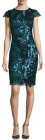 Badgley Mischka Cap-Sleeve Sequined Lace Cocktail Dress