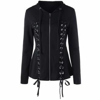 HOOUDO Womens Hooded Jacket Coat Long Sleeve Fashion Casual Tassel Solid Pocket Zip Sweatshirt with Double Ribbon Cardigan Outwear Overcoat (XX-Large