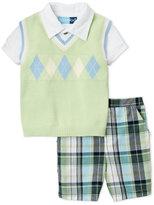 Good Lad Infant Boys) 3-Piece Argyle Vest & Plaid Shorts Set