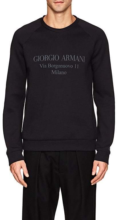 Giorgio Armani MEN'S LOGO COTTON-BLEND NEOPRENE SWEATSHIRT