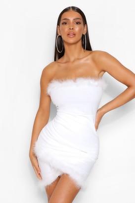 boohoo Feather Wrap Mini Dress