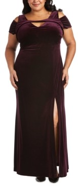 Night Way Nightway Plus Size Long Stretch Velvet Cold-Shoulder Dress
