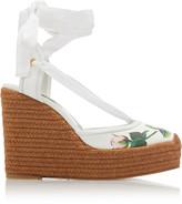 Dolce & Gabbana Floral-Print Leather Platform Wedge Espadrilles