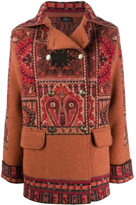 Etro Patchwork-Print Double-Breasted Coat