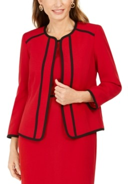 Kasper Piping-Trim Collarless Jacket