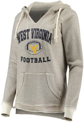 Women's Blue 84 Cream West Virginia Mountaineers Striped Football V-Neck Raglan Pullover Hoodie