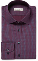 Etro Purple Slim-fit Patterned Cotton-poplin Shirt - Grape