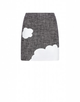 Boutique Moschino Mat Miniskirt With Clouds Woman Grey Size 38 It - (4 Us)