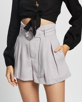 Glamorous Women's Grey High-Waisted - High Waisted Belted Shorts - Size 8 at The Iconic