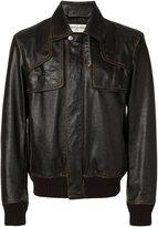 Saint Laurent classic bomber jacket - men - Cotton/Calf Leather/Polyamide/Wool - 50