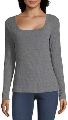 A.N.A Womens Square Neck Long Sleeve T-Shirt