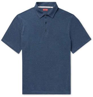 Isaia Slim-Fit Melange Cotton-Pique Polo Shirt