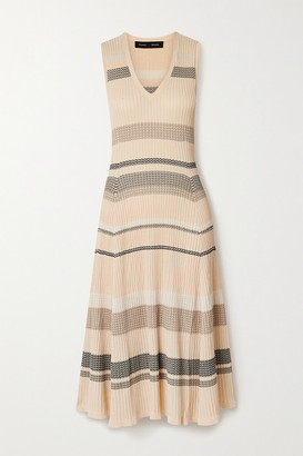 Proenza Schouler Striped Ribbed-knit Midi Dress - Neutral