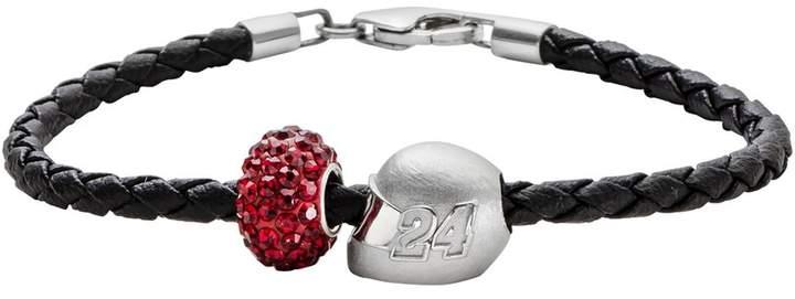"Insignia Collection NASCAR Jeff Gordon Leather Bracelet & Sterling Silver ""24"" Helmet Bead Set"