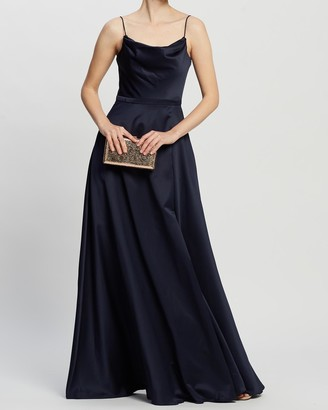 Bariano Diamond Cowl Wrap Gown